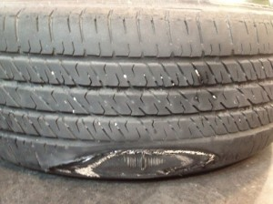bad tire on a Volkswagen