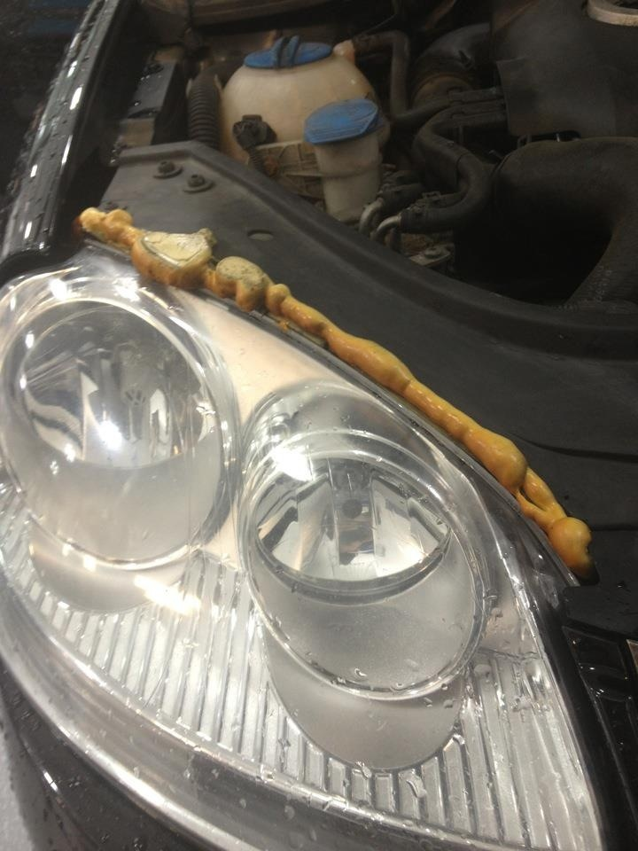 Resealed VW headlight