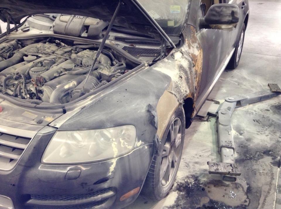 VW Touareg fire damage